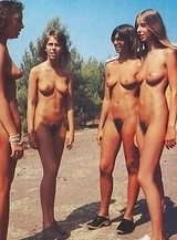 tanned blonds and brunet girls removes briefs at beach among men